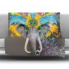 My Elephant with Headdress Fleece Throw Blanket