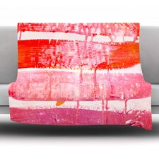 Coral Paint Wash Fleece Throw Blanket