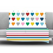 Heart Stripes by Project M Fleece Throw Blanket