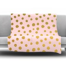 Golden Dots by Nika Martinez Fleece Throw Blanket