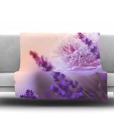 Peony and Lavender Fleece Throw Blanket