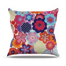Patchwork Flowers by Louise Machado Throw Pillow