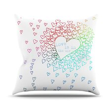 Rainbow Hearts by Monika Strigel Throw Pillow