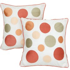 Coral and Orange Embroidered Throw Pillow (Set of 2)