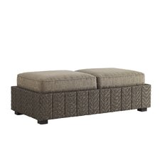 Blue Olive Storage Ottoman with Cushions