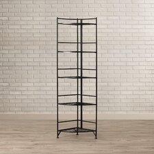 Designs 2 Go 5 Tier Folding Metal Shelf 58'' Corner Unit Bookcase