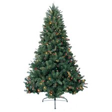 7' Green Deerwood Fir Artificial Christmas Tree with 600 Multi-Colored Lights and Metal Stand