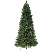 6' Green Eastwood Fir Slim Artificial Christmas Tree with 400 Clear Lights and Metal Stand