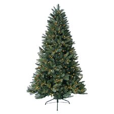 8' Green Highland Fir Artificial Christmas Tree with 600 LED Warm Lights and Metal Stand