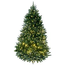 7' Green Lakewood Fir Artificial Christmas Tree with 600 LED Warm Lights and Metal Stand