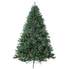 7' Green Woodruff Spruce Artificial Christmas Tree with 500 Warm Lights and Metal Stand