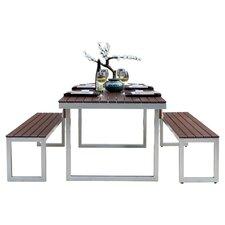 Kinzie Outdoor Modern 3 Piece Dining Set