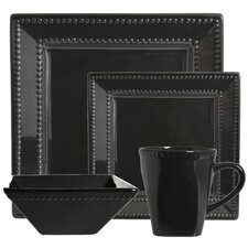 Nova Square Beaded 16 Piece Dinnerware Set