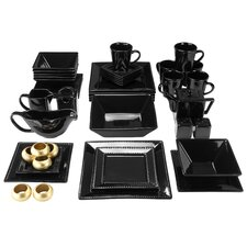 Nova Square Beaded 43 Piece Dinnerware Set