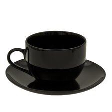 Black Coupe 8 oz. Teacup and Saucer (Set of 6)