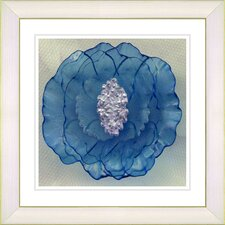 """Crystal Flower - Blue"" by Zhee Singer Framed Fine Art Giclee Painting Print"