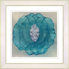 'Crystal Flower - Turquoise' by Zhee Singer Framed Fine Art Giclee Painting Print