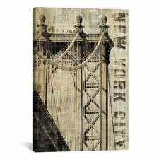 Vintage NY Manhattan Bridge Canvas Art By Michael Mullan