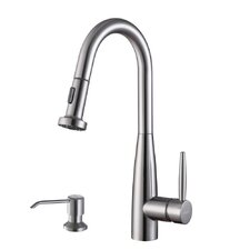 Turino Single Handle Kitchen Faucet with Pull Out Spray and Soap Dispenser