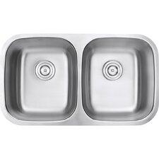 "Parmi 33.25"" x 18.5"" Undermount Double Bowl Kitchen Sink"