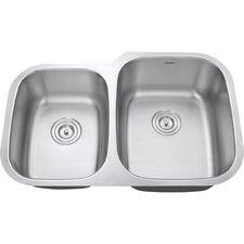 "Parmi 32"" x 21"" Undermount Double Bowl Kitchen Sink"