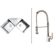 """43.75"""" x 23"""" Kitchen Sink with Faucet"""