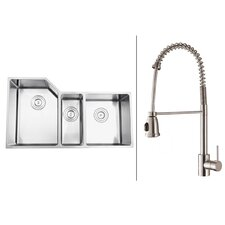"""33.75""""  x 19.13"""" Kitchen Sink with Faucet"""