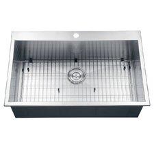 """Tirana 33"""" x 21"""" Drop-in Single Bowl Kitchen Sink"""