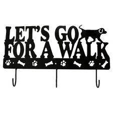 "Lucky Dog ""Let's Go for a Walk"" Leash Wall Hook Rack"