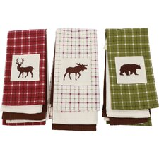Woodland River 3 Piece Cotton and Embellished Dish Towel Set