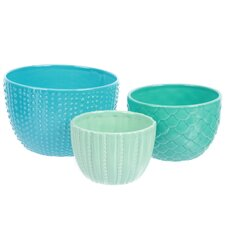 Sea Life 3 Piece Ceramic Nested Bowl Set