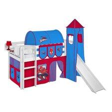 Hochbett Jelle Spiderman mit Turm, Rutsche und Vorhang