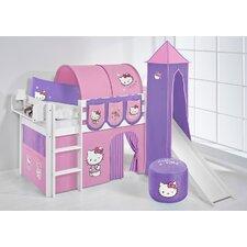 Hochbett Jelle Hello Kitty mit Turm, Rutsche und Vorhang, 90 x 190 cm