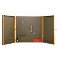 """Three Section Storage Cabinet with 1/8"""" Pegboard"""