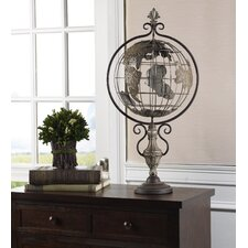 Embossed Metal Globe on Stand with Finial