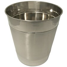Double Ribbed Stainless Steel Wastebasket