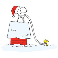 Peanuts Snoopy Woodstock Sleigh by Charles M. Schulz Painting Print on Wrapped Canvas