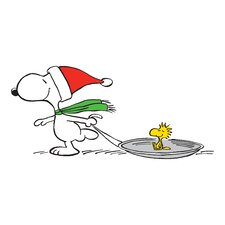 Peanuts Snoopy Woodstock Sled by Charles M. Schulz Painting Print on Wrapped Canvas