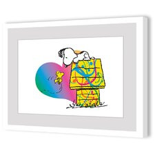 Woodstock and Snoopy Rainbow Heart Framed Art Print
