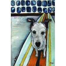 Dog on Surfboard by Tori Campisi Painting Print on Wrapped Canvas