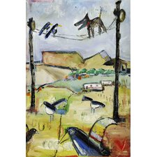 Dog on Wire by Tori Campisi Painting Print on Wrapped Canvas