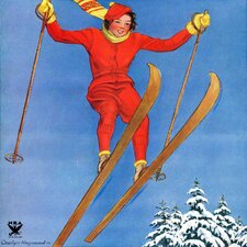 Woman Ski Jumper by Carolyn Haywood Painting Print on Wrapped Canvas