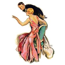 Vintage Fashion Engaged Couple by John LaGatta Painting Print on Wrapped Canvas