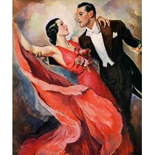 Vintage Fashion Ballroom Dancing by John LaGatta Painting Print on Wrapped Canvas