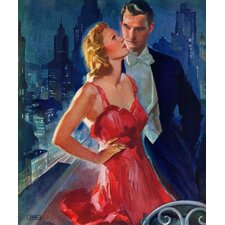 Vintage Fashion Formal Couple on Balcony By John LaGatta Painting Print on Wrapped Canvas
