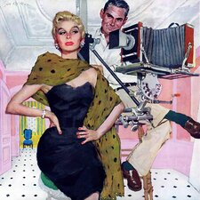 Vintage Fashion Model Wife by Joe De Mers Painting Print on Wrapped Canvas