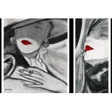 Vintage Fashion Hat Lady 2 Painting Print on Wrapped Canvas