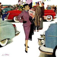 Woman in Showroom? by M. Coburn Whitmore Painting Print on Wrapped Canvas
