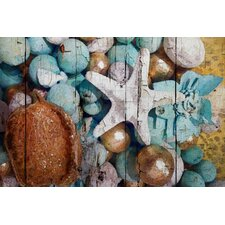 Blue and Gold Shell Decor by Irena Orlov Graphic Art on Wrapped Canvas