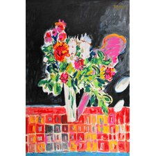 Flowers on a Checkered Cloth by Michael Woodward Painting Print on Wrapped Canvas
